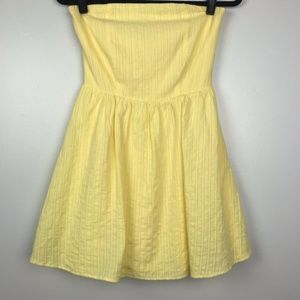 Francesca's Blue Rain Strapless Pale Yellow Dress